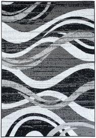 FIRE Teppich Modern Kurzflor Meliert Wellen Schwarz Weiss Grau