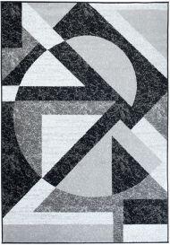 FIRE Teppich Modern Kurzflor Grau Weiss Schwarz Design