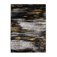 MAYA Area Rug Modern Abstract Contemporary Short Pile Grey Yellow