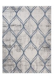 TROYA Area Rug Grey Flecked Round Trellis Durable Carpet