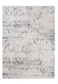 Troya Teppich Kurzflor Modern Marokkanisch Gitter Grau Blau