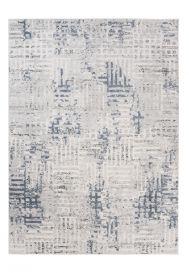 Troya Teppich Kurzflor Modern Labyrinth Design Creme Blau