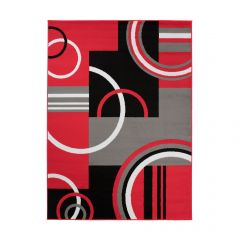 MAYA Area Rug Modern Short Pile Circles Geometric Red Grey