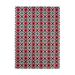 MAYA Area Rug Modern Short Pile Floral Designer Grey Red
