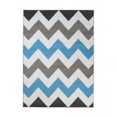 Maya Teppich Kurzflor Grau Weiß Blau Modern Geometrisch Zig Zag