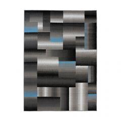 MAYA Area Rug Modern Geometric Square Short Pile Grey Blue