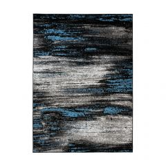 MAYA Vloerkleed Grijs Zwart Blauw Abstract Eyecather Praktisch