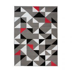 Maya Tappeto Grigio Rosso Geometrico A Pelo Corto