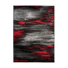 MAYA Area Rug Modern Abstract Contemporary Short Pile Grey Red