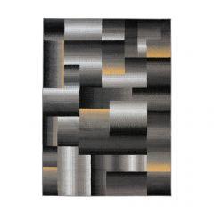 MAYA Area Rug Modern Geometric Square Short Pile Grey Yellow