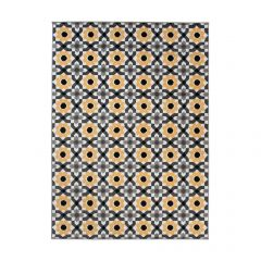 MAYA Area Rug Modern Short Pile Floral Designer Grey Yellow