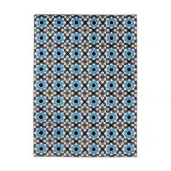 MAYA Tapis Moderne Géométrique Fleures Bleu Gris Blanc Noir Fin