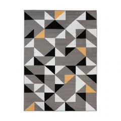 MAYA Area Rug Modern Short Pile Triangles Geometric Grey Yellow