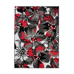MAYA Area Rug Modern Short Pile Designer Flowers Red Grey
