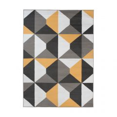 MAYA Tapis Moderne Trapèze Orange Gris Blanc Fin