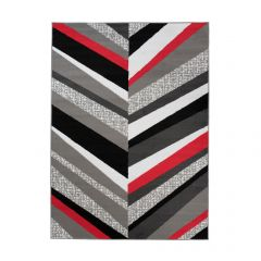 MAYA Area Rug Modern Contemporary Short Pile Lines Grey Red