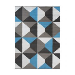 MAYA Area Rug Modern Short Pile Geometric Shapes Grey Blue