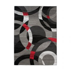 MAYA Area Rug Modern Short Pile Geometric Circle Grey Red