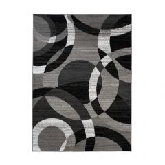 MAYA Area Rug Modern Short Pile Geometric Circle Grey Black