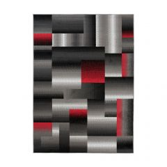 MAYA Area Rug Modern Geometric Square Short Pile Grey Red