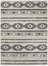 ETHNO Area Rug Tribal Boho Ethnic Aztec Cream Black