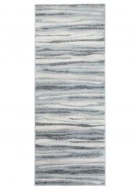 Sari Teppich Läufer Kurzflor Modern Streifen Grau Creme