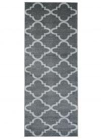 Sari Teppich Läufer Kurzflor Modern Marokkanisch Gitter Grau