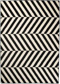 DREAM Modern Area Rug Short Pile Geometric Stripes Black White