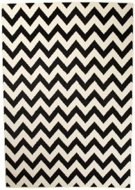 DREAM Teppich Kurzflor Weiß Schwarz Modern Zig Zag Design