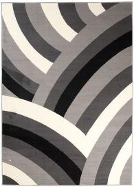 DREAM Modern Area Rug Short Pile Curve Abstract Light Dark Grey