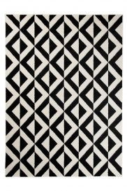 MAROKO Area Rug Modern Short Pile Diamond Geometric Black Cream