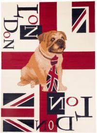 SCARLET Teppich Kurzflor London Creme Mehrfarbig Bulldog