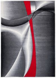 SUMATRA Teppich Kurzflor 3D Effekt Modern Grau Creme Rot Linien