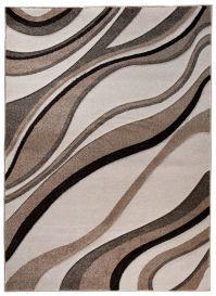 SUMATRA Area Rug Contour Cut Abstract Wavy Light Dark Beige