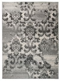 SARI Area Rug Vintage Short Pile Floral Motif Light Dark Grey