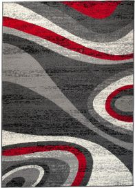 DREAM Area Rug Modern Short Pile Wavy Pattern Grey Red