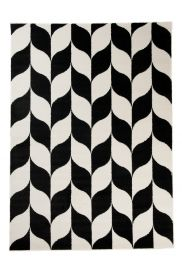 MAROKO Area Rug Modern Short Pile Geometric Plait Black Cream