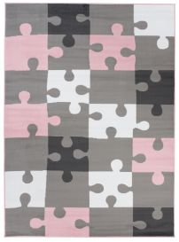 Pinky Area Rug Kids Children Room Bedroom Pink Grey Puzzle Play Mat Durable Carpet Size -