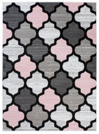 PINKY Tapis Moderne Géométrique Trèfle Rose Gris Noir Jeu Doux