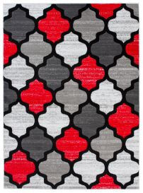 Pimky Moroccan Trellis Area Rug Living Room Bedroom Teenager Grey Red Durable Carpet Size -