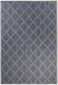 NATURE Teppich Outdoor Sisal Marokkanisch Modern Gitter Grau Blau