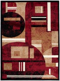SCARLET Area Rug Short Pile Modern Abstract Geometric Red Beige