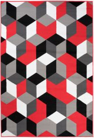 MAYA Modern Area Rug Short Pile Geometric Shapes Grey Red