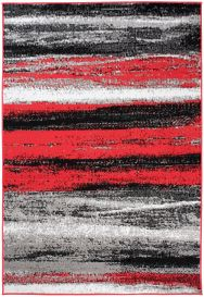 MAYA Modern Area Rug Short Pile Flecked Lines Grey Red