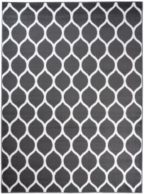 LUXURY Modern Area Rug Short Pile Round Trellis Dark Grey