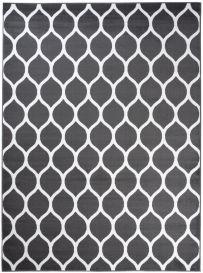 LUXURY Tapis Moderne Trèfle Marocain Gris Foncé Blanc Fin