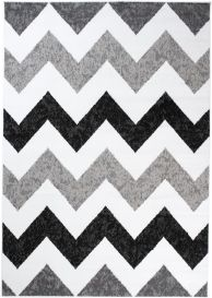 MAYA Area Rug Modern Short Pile ZigZag Geometric Grey Black