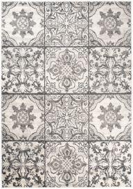 Ethno Teppich Kurzflor Modern Floral Mosaik Design Creme Grau
