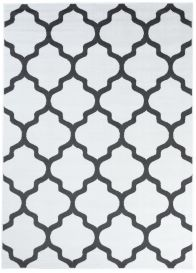 Luxury Teppich Kurzflor Modern Marokkanisch Gitter Weiß Grau
