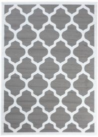 Luxury Teppich Kurzflor Modern Marokkanisch Gitter Grau Weiß